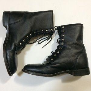 Justin Hiram Black Leather Lacer Roper Boots